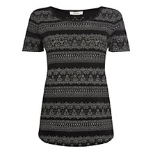 Buy Oasis Lace Burnout Tee, Black Online at johnlewis.com