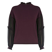 Buy Warehouse Ruffle Sleeve Jumper, Berry Online at johnlewis.com