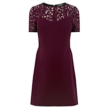 Buy Oasis Lace Patched Dress, Burgundy Online at johnlewis.com