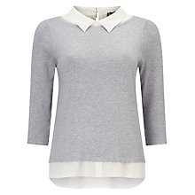 Buy Phase Eight Suzetta Shirt Jumper, Grey/Ivory Online at johnlewis.com