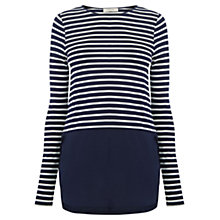 Buy Oasis Stripe Woven Mix T-Shirt, Navy Online at johnlewis.com