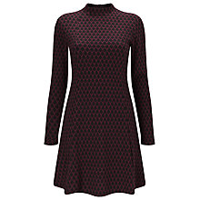Buy Phase Eight Diamond Jacquard Dress, Black/Port Online at johnlewis.com