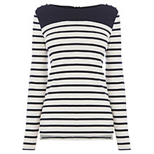 Buy Oasis Stripe Button Jumper, Off White Online at johnlewis.com