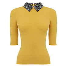 Buy Oasis Ditsy Rib Collar Knit Jumper, Ochre Online at johnlewis.com