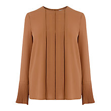 Buy Warehouse Box Pleat Top, Tan Online at johnlewis.com