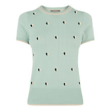 Buy Oasis Heart Cute Knit Jumper, Teal Green Online at johnlewis.com