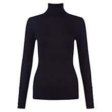 Buy Hobbs Lara Ribbed Roll Neck Jumper, Navy Online at johnlewis.com