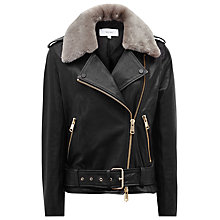 Buy Reiss Dree Shearling And Leather Jacket, Black/Mink Online at johnlewis.com