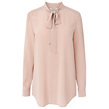 Buy L.K. Bennett Silk Alba Pussybow Tunic Top, Pink Online at johnlewis.com