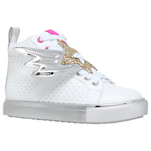 Buy Mini Miss KG Children's Shooting Star High Top Trainers, White Online at johnlewis.com