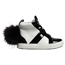 Buy Mini Miss KG Children's Bamboo High Top Trainers, White/Black Online at johnlewis.com