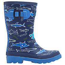 Buy Little Joule Children's Shark Wellington Boots, Navy Online at johnlewis.com