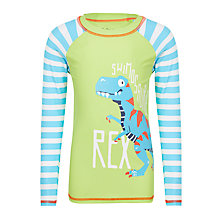 Buy Hatley Boys' Swimosaurus Rex Long Sleeve Rashie, Green/Blue Online at johnlewis.com