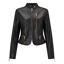 Buy Bruce by Bruce Oldfield Leather Jacket, Black Online at johnlewis.com