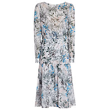 Buy Reiss Nyla Midi Printed Silk Dress, Blue Online at johnlewis.com