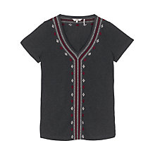 Buy Fat Face Embroidered Top, Phantom Online at johnlewis.com