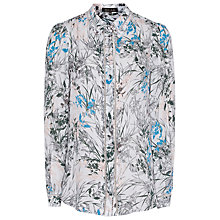 Buy Reiss Petra Printed Silk Blouse, Blue Online at johnlewis.com