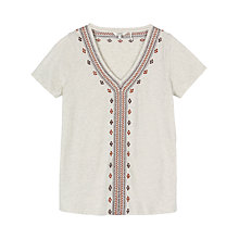 Buy Fat Face Bosbury Embroidered Top, Oat Online at johnlewis.com