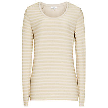 Buy Reiss Sail Long Sleeve Metallic Stripe T-Shirt, Sahara Online at johnlewis.com