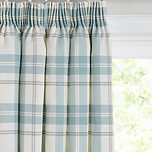 Buy John Lewis Burghley Check Lined Pencil Pleat Curtains, Duck Egg Online at johnlewis.com