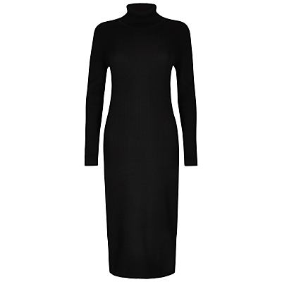Winser London Ribbed Knitted Roll Neck Dress Black