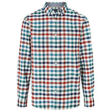 Buy John Lewis Multi Gingham Cotton Oxford Shirt, Red/Green Online at johnlewis.com