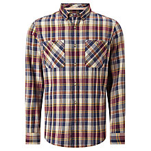 Buy John Lewis Flannel Cotton Check Shirt, Burgundy Online at johnlewis.com