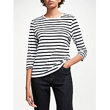 Buy John Lewis Zip Back Breton Stripe T-Shirt, White/Black Online at johnlewis.com