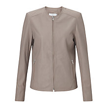 Buy John Lewis Collarless Leather Jacket Online at johnlewis.com
