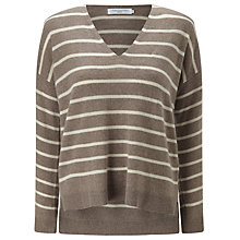 Buy John Lewis Cashmere V-Neck Stripe Jumper Online at johnlewis.com