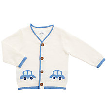 Buy John Lewis Baby Car Intarsia Cardigan, Cream Online at johnlewis.com