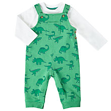 Buy John Lewis Baby Dinosaur Dungaree Set, Green Online at johnlewis.com