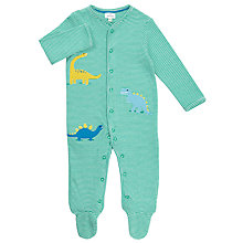 Buy John Lewis Baby Striped Dinosaur Sleepsuit, Green Online at johnlewis.com