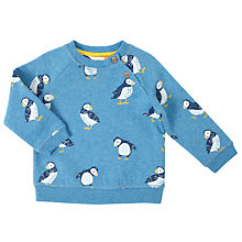 Buy John Lewis Baby Puffin Print Cotton Sweatshirt, Blue Online at johnlewis.com