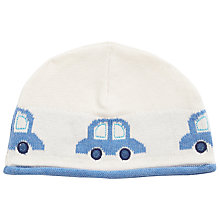 Buy John Lewis Baby Cars Intarsia Knitted Hat, Cream/Blue Online at johnlewis.com
