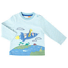Buy John Lewis Baby Animal Rocket Striped Long Sleeved T-Shirt, Blue/White Online at johnlewis.com