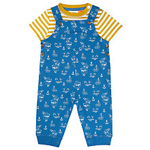 Buy John Lewis Baby Nautical Dungaree and T-Shirt Set, Blue/Yellow Online at johnlewis.com