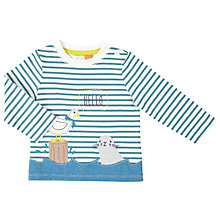 Buy John Lewis Baby Seagull and Seal Long Sleeved T-Shirt, Blue/White Online at johnlewis.com