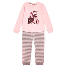 Buy Jigsaw Girls' Bear Placement Jersey Pyjama Set, Pink Online at johnlewis.com
