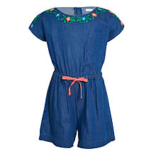 Buy John Lewis Girls' Embroidered Denim Playsuit, Blue Online at johnlewis.com