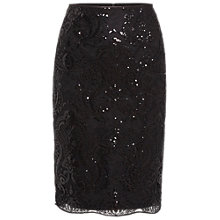 Buy Gina Bacconi Baroque Sequin Skirt, Black Online at johnlewis.com