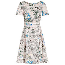 Buy Reiss Mella Crew Neck Printed Dress, Multi/Pink Online at johnlewis.com