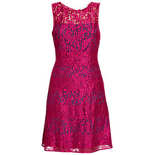 Buy Gina Bacconi Scallop Eyelash Lace Dress, Navy/Pink Online at johnlewis.com