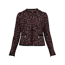 Buy Ted Baker Jasina Fringe Jacket, Black Online at johnlewis.com