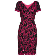 Buy Gina Bacconi Scallop Corded Lace Dress, Black/Fuchsia Online at johnlewis.com