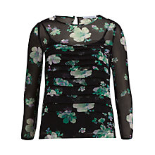 Buy Gina Bacconi Floral Chiffon Pleated Top, Black/Green Online at johnlewis.com