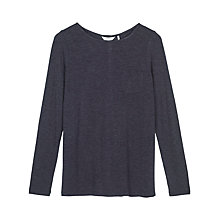Buy Fat Face Maltby Button Back Top, Navy Online at johnlewis.com