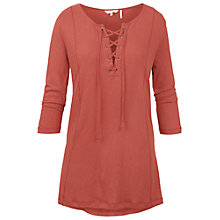 Buy Fat Face Lace Up Longline Top, Terracota Online at johnlewis.com
