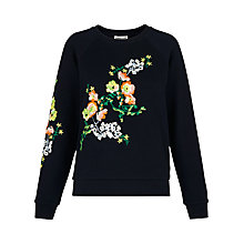 Buy Whistles Aiko Floral Print Sweatshirt, Navy Online at johnlewis.com