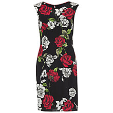 Buy Gina Bacconi Rose Print Modern Crepe Dress, Red/Black Online at johnlewis.com